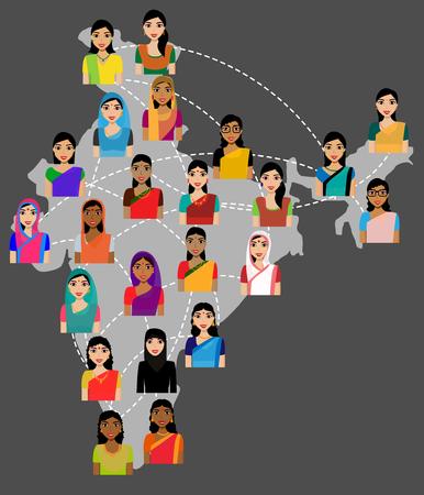 personas reunidas: avatares mujeres vector de la India en la India mapa, el concepto de red social