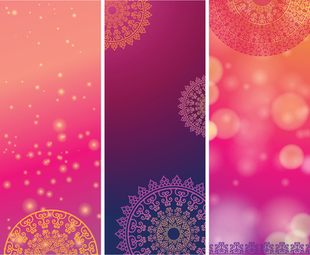 festive background: Ethnic & Colorful Henna Mandala design, on festive and glitter bokeh background