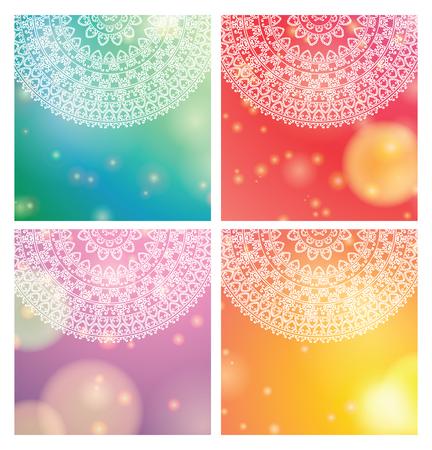 bollywood: Vector - Ethnic & Colorful Henna Mandala design, on festive and glitter bokeh background