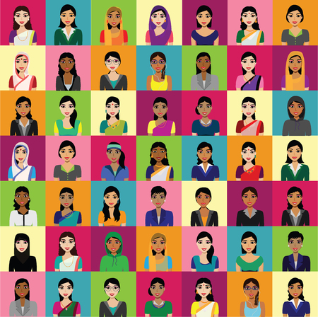 big woman: Vector - Big crowd of Indian women vector avatars - Indian woman representing different statesreligions of India. Vector flat illustration set of Indian women avatar in traditional costumes.