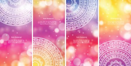 Stockfoto - Etnische en kleurrijke Henna Mandala ontwerp, op feestelijke en glitter bokeh achtergrond Stock Illustratie