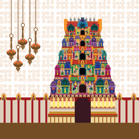 Hindu Temple on Pattern Background