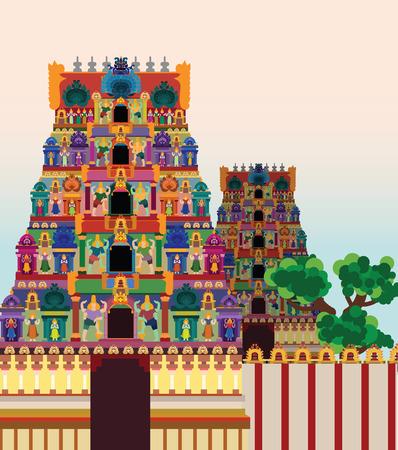 Hindu Temple on Pattern Background