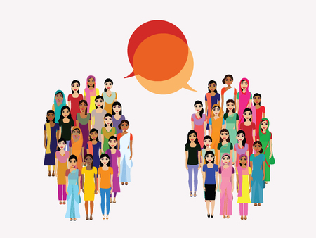 Big crowd of Indian women vector avatars on Indian town background. Modern multicultural society of Indian women concept. Group of different Indian Women community Illustration
