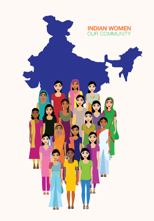 Big crowd of Indian women vector avatars on Indian town background. Modern multicultural society of Indian women concept. Group of different Indian Women community on Indian map background