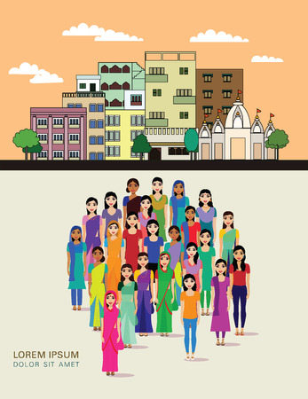 Big crowd of Indian women vector avatars on Indian town background. Modern multicultural society of Indian women concept. Group of different Indian Women community on town background