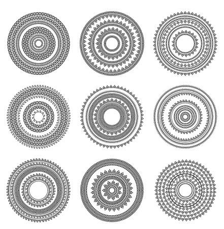 Mandala circles illustration set