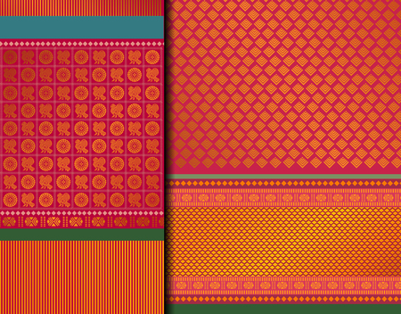 Indian Pattu Sari Vector pattern set. Traditional handmade Indian silk sari saree with golden details, woman wear on festival, ceremony, and weddings.