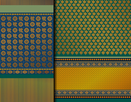 Indian Pattu Sari Vector pattern set. Traditional handmade Indian silk sari /saree with golden details, woman wear on festival, ceremony, and weddings. 免版税图像 - 117625490