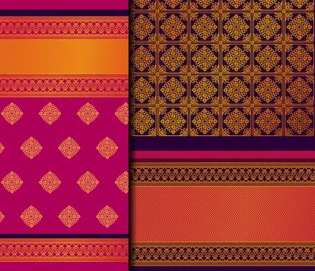 Indian Pattu Sari Vector pattern set. Traditional handmade Indian silk sari /saree with golden details, woman wear on festival, ceremony, and weddings. Vettoriali