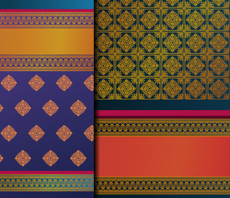 Conjunto de patrones indios Pattu Sari Vector. Sari / sari de seda indio tradicional hecho a mano con detalles dorados, ropa de mujer en festivales, ceremonias y bodas.
