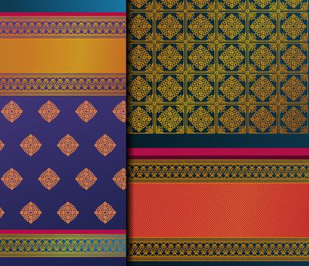 Indyjski Pattu Sari wektor wzór zestaw. Tradycyjne, ręcznie robione indyjskie sari / sari / sari ze złotymi detalami, noszone przez kobiety na festiwalach, ceremoniach i weselach.