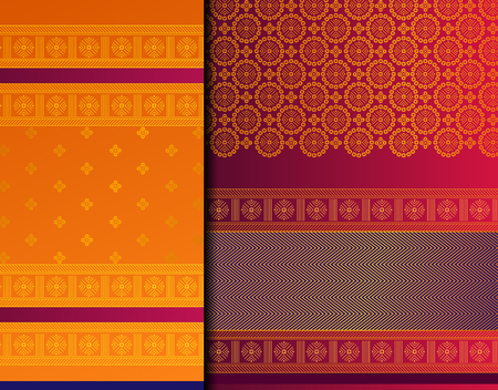 Indian Pattu Sari Vector pattern set. Traditional handmade Indian silk sari /saree with golden details, woman wear on festival, ceremony, and weddings.