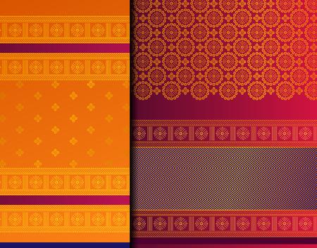 Insieme del modello di vettore indiano Pattu Sari. Sari/saree di seta indiana tradizionale fatta a mano con dettagli dorati, abbigliamento da donna per festival, cerimonie e matrimoni.