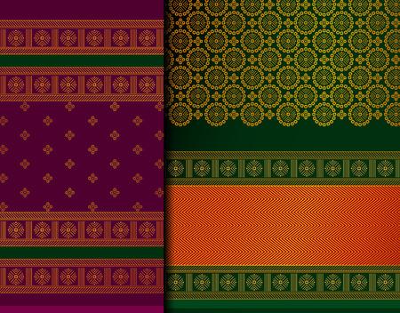 Conjunto de patrones indios Pattu Sari Vector. Sari / sari de seda indio tradicional hecho a mano con detalles dorados, ropa de mujer en festivales, ceremonias y bodas. Ilustración de vector