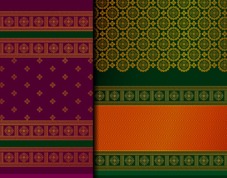 Indian Pattu Sari Vector pattern set. Traditional handmade Indian silk sari /saree with golden details, woman wear on festival, ceremony, and weddings. Stock fotó - 117625509