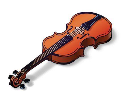 lie: Perfect violin foreshorten lie on white background.