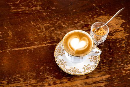 capucinno: Coffee with Heart latte Stock Photo