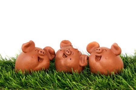 Triple Clay Pigs Stock Photo
