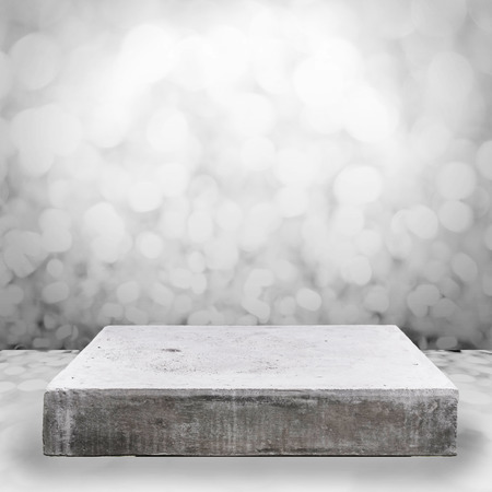 white room: Empty concrete table top on bokeh background Stock Photo