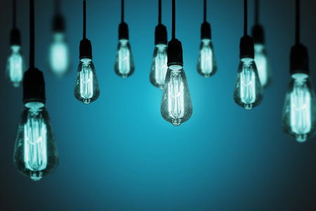 electric bulb: light bulbs on a cool gradient background Stock Photo