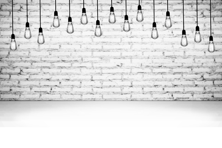 wall light: Mock up concrete brick wall and floor with retro light bulbs