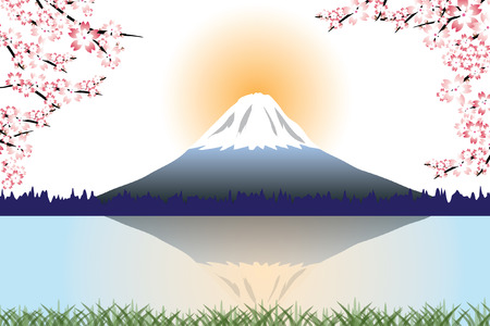 Fuji mountain and Cherry blossoms vector
