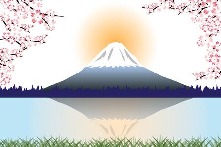 fuji mountain: Fuji mountain and Cherry blossoms vector Illustration