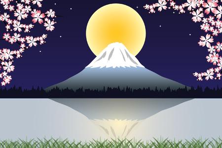 Ciliegio in fiore contro un cielo blu notte. Neve ridotta Monte Fuji è sullo sfondo