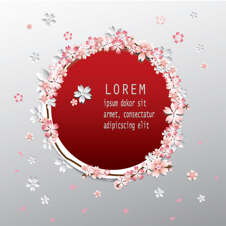 greeting card background: Cherry blossom greeting card, sakura background Illustration