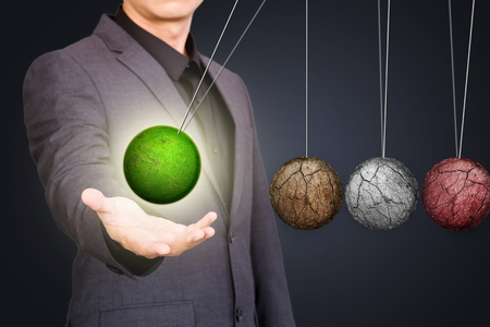 Businessman with green globe concept, Environment protection concept