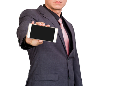 Businessman show display of mobile cell phone with blank screen