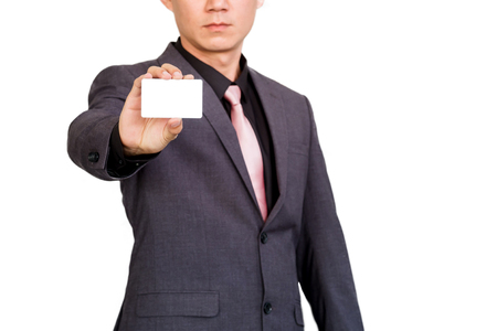 Businessman show display of blank business card.