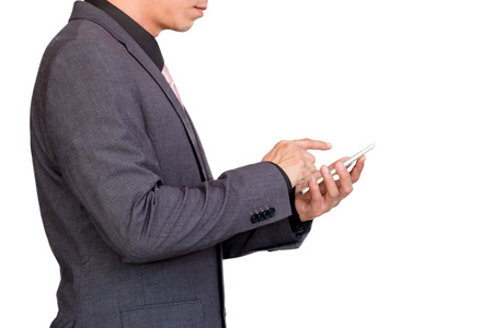 Businessman using mobile smart phone