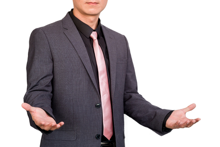 Businessman with hand presenting