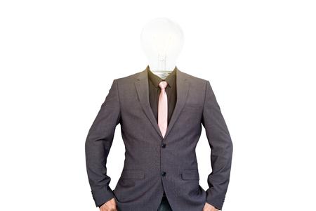 Businessman with light bulb head.