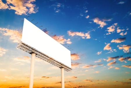 Blank billboard at twilight for advertisement. Stock Photo