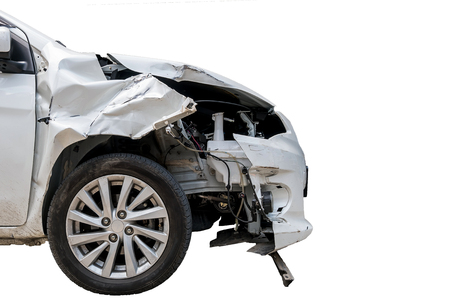 Car crash accident isolated on white Reklamní fotografie