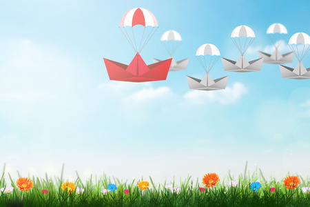 supervise: Leadership concept with red paper ship with parachute leading among white, Unique and different concept