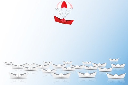 Leadership concept with red paper ship with parachute leading among white, Unique and different concept