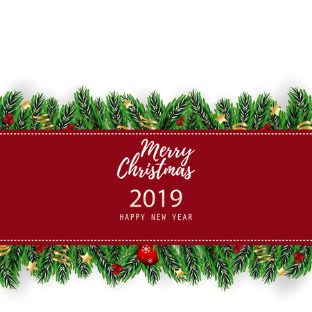 Merry Christmas and Happy New Year Greeting Card Background.