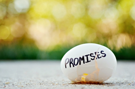 promises: Broken egg with the word promises on it
