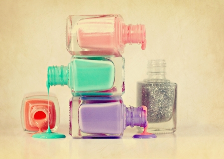 Nail Polish Spilling into Different Colors Stok Fotoğraf - 15818121
