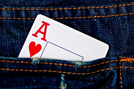 another way: Card in Back Pocket Stock Photo