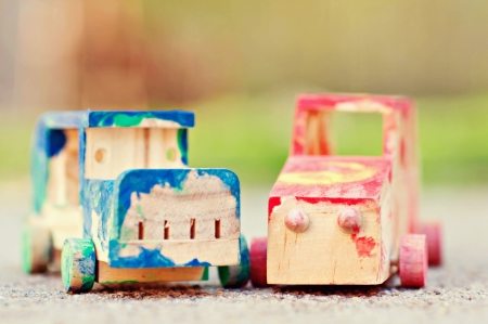 Toy Wooden Cars Painted by Child