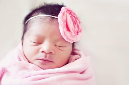 babies: Newborn Baby Girl Wrapped in Pink Blanket with Flower Bow Stock Photo