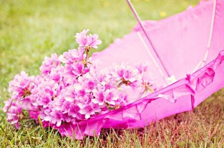 内部の花とピンクの傘