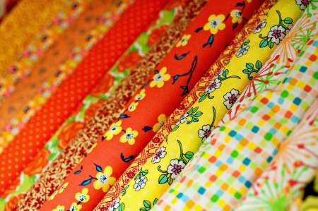 Colorful printed fabric Stock Photo