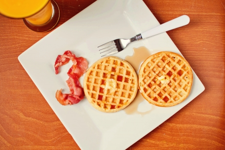 Bacon and Waffle Breakfast in the Shape of 300
