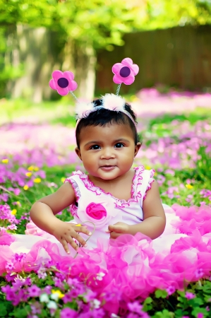 beautiful little girl in garden